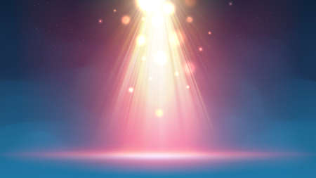 Background with fog spotlight. Illuminated blue gold smoky scene. Backdrop for displaying products. Bright golden pink spotlight beams, glittering particles, a spot of light. Vector illustration