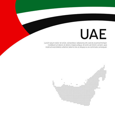 Abstract waving flag mosaic map of united arab emirates. Creative background for design of patriotic holiday card uae. National Poster. Flat style. UAE business booklet, flyer. Vector flat design Illustration