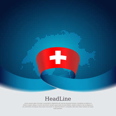 Switzerland flag, mosaic map on blue white background. Vector banner design, switzerland national poster. Cover for business booklet. Wavy ribbon with the swiss flag. State patriotic, flyer, brochure