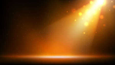 Gold spotlight background. Illuminated golden stage. Background for displaying products. Bright beams of spotlights, shimmering glittering particles, a spot of light. Vector illustration Illustration