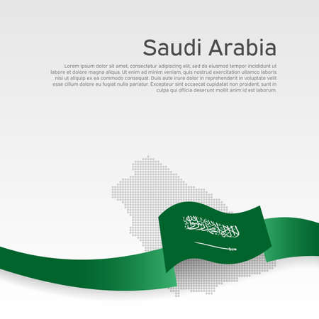 Background with wavy flag and mosaic map of saudi arabia. Saudi Arabia flag with wavy ribbon on white. National poster design. Business booklet. State patriotic banner, flyer. Vector illustration