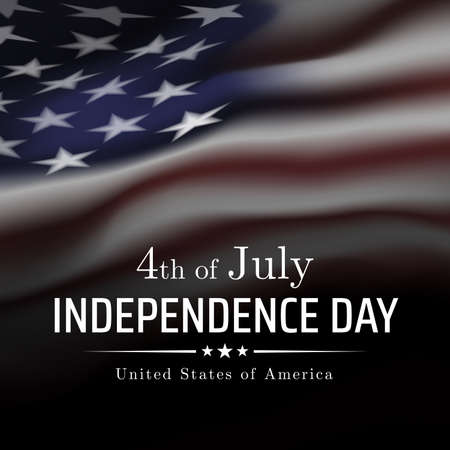 4th of july usa independence day banner, greeting card. Waving american flag on a dark background. Fourth of july, USA national holiday. Vector black and white illustration, poster Illustration