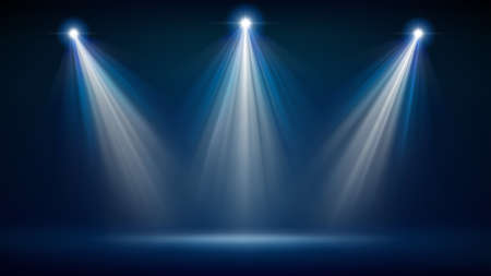 Spotlight backdrop. Illuminated blue stage. Background for displaying products. Bright beams of spotlights, shimmering glittering particles, a spot of light. Vector illustration