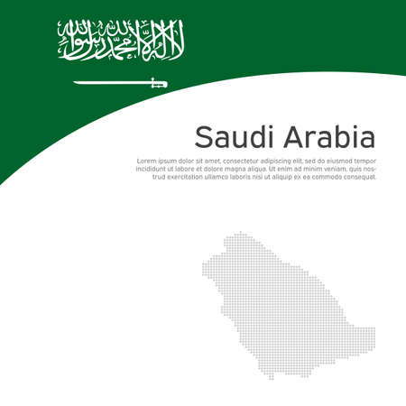 Abstract saudi arabia flag, mosaic map. Creative background for design of patriotic holiday cards. National poster. Cover, banner in national colors saudi arabia. Vector flat illustration, template Illustration