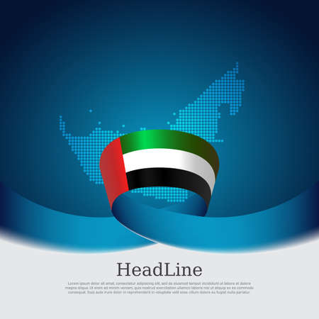 United arab emirates flag with wavy ribbon on a blue white background. Background with flag of uae, mosaic map. UAE national poster. Vector design state patriotic banner, cover, business flyer