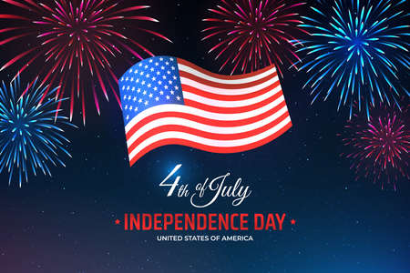 Banner 4th of july usa independence day, template with american flag on starry sky background and colorful fireworks. Fourth of july, USA national holiday. Vector illustration, poster