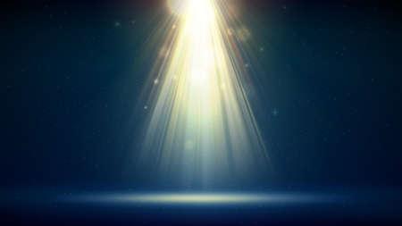 Golden spotlight dark blue background, stage. Backdrop for displaying products. Bright golden beams of a spotlight, bokeh, shimmering glittering particles, a spot of light. Vector illustration Illustration