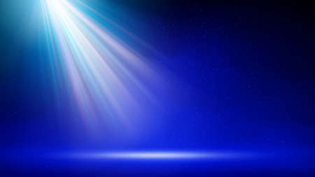 Spotlight background. Illuminated blue stage. Divine radiance, god. Backdrop for displaying products. Bright beams of spotlights, shimmering glittering particles, a spot of light. Vector illustration Illustration