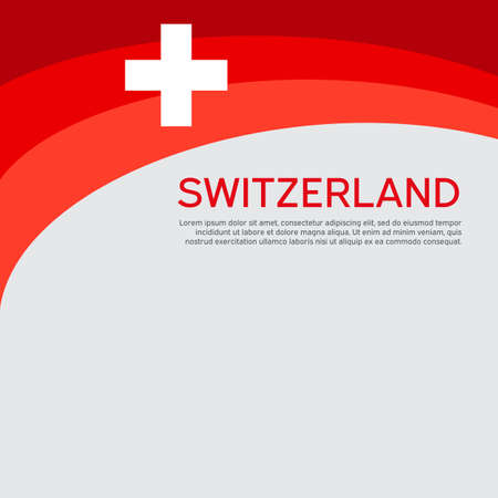 Abstract waving switzerland flag. Creative background for the design of patriotic swiss holiday cards. National poster. Cover, banner in national colors of switzerland. Vector illustration Illustration