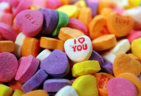 candy hearts: I Love You