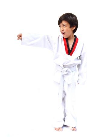 tae: Little tae kwon do boy martial art Stock Photo