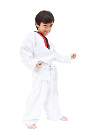 Little tae kwon do boy martial art Stock Photo