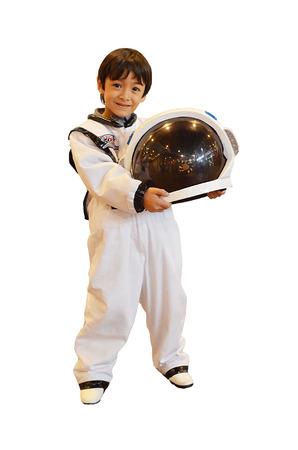 Jongetje alsof een astronaut Stockfoto