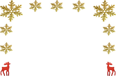 Chrismas background with snowflake and reindeer on white Stock Photo