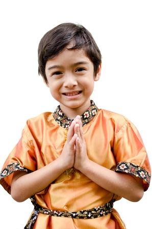 thai boy: Thai boy traditional costume on white background Stock Photo
