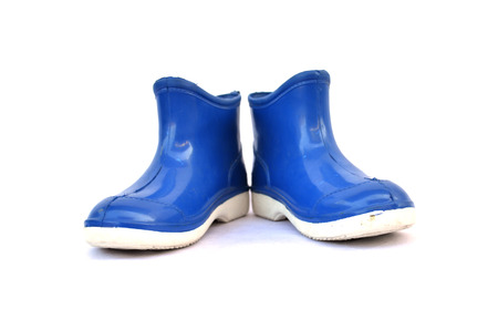 Blue  boots on white background photo