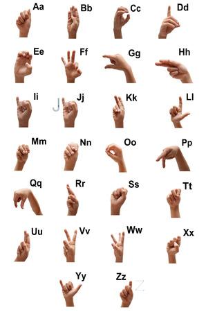 fingerspelling: Alphbet ASL kid spelling hand sign american sign language Stock Photo