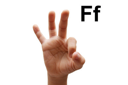 sign language: F kid hand spelling american sign language ASL