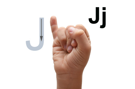 J kid hand spelling american sign language ASL photo