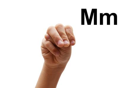 fingerspelling: M kid hand spelling american sign language ASL