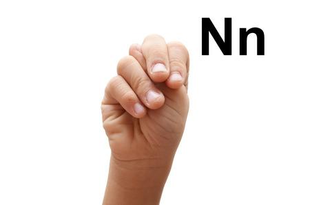 fingerspelling: N kid hand spelling american sign language ASL
