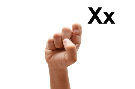 X kid hand spelling american sign language ASL photo