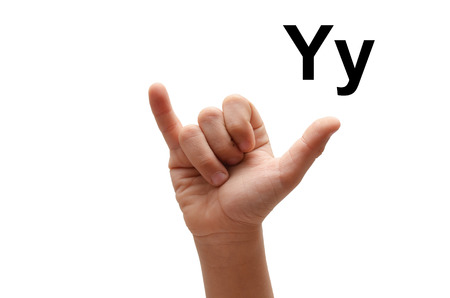 fingerspelling: Y kid hand spelling american sign language ASL Stock Photo
