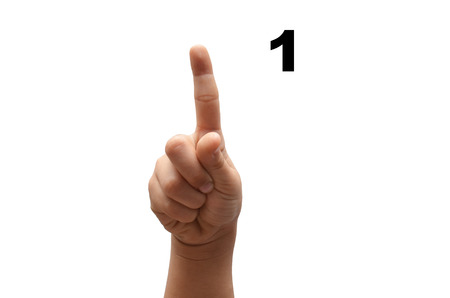 fingerspelling: Number 1  kid hand spelling american sign language ASL on white