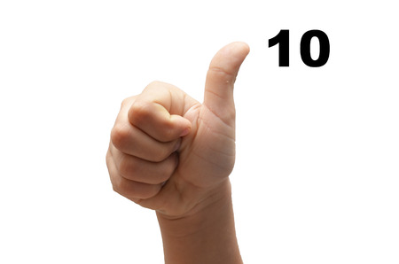 fingerspelling: Number 10  kid hand spelling american sign language ASL on white  Stock Photo