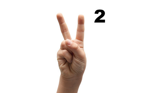 fingerspelling: Number 2  kid hand spelling american sign language ASL on white