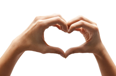 fingerspelling: Heart shape woman hand making on white  Stock Photo