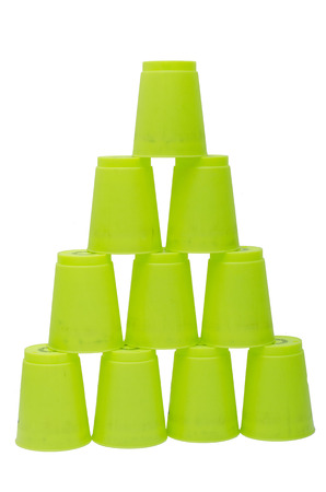 green stacks plastic  cups photo