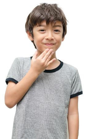 흰색 아이 손을 수화 감사합니다.