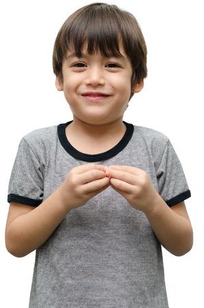 白地手手話の子供より 写真素材