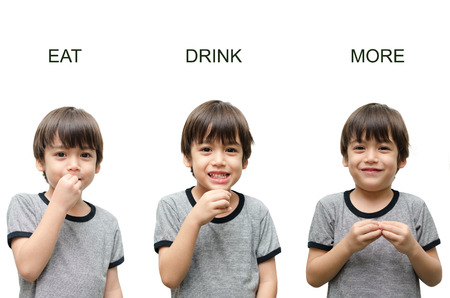 asl sign: Eat ,drink, more kid hand sign language on white  Stock Photo