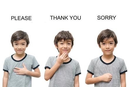 désolé: S'il vous plaît merci désolé part enfant de la langue des signes sur