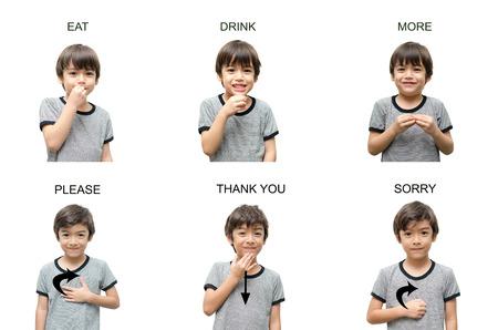 白い背景の上の子供の手手話 写真素材