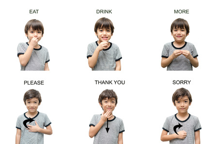 Kinderhandzeichensprache auf weißem Hintergrund Standard-Bild - 27838893