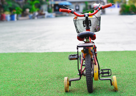 antique tricycle: bicycle on green grass