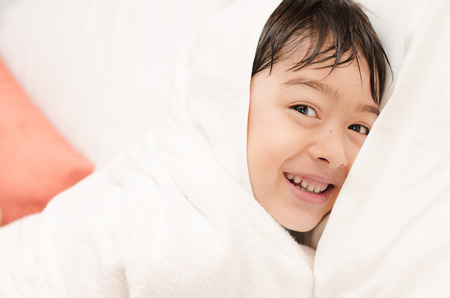 Little boy with towel cover Stock Photo