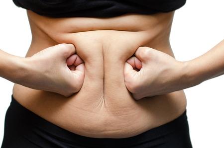 Žena děrování na tuku břicho Reklamní fotografie