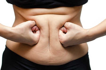 mujer celulitis: Mujer de perforaci�n en el est�mago de grasa Foto de archivo