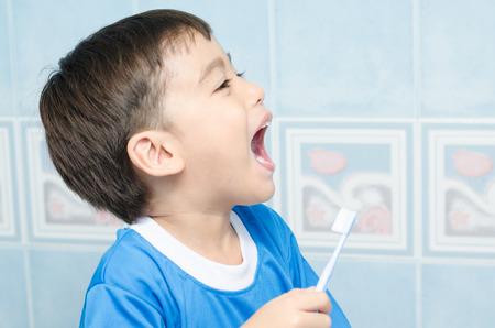 Little Boy Brushing Teeth Stock Photo - 31955306