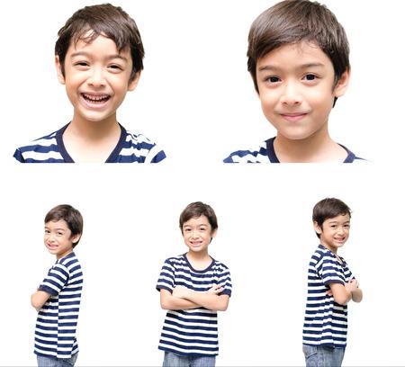 Little handsome boy portrait on white background