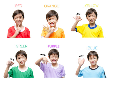 흰색 배경에 색 아이 손 기호 언어