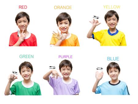 Kleur kind de hand gebarentaal op een witte achtergrond Stockfoto