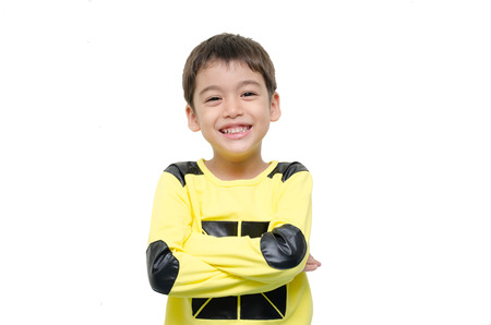 Little boy smiling portrait on white background Stock Photo - 33595343