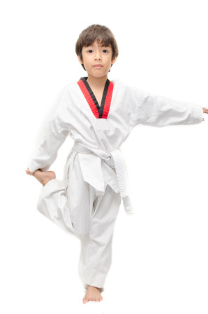 tae: Little tae kwon do boy martial art warm up