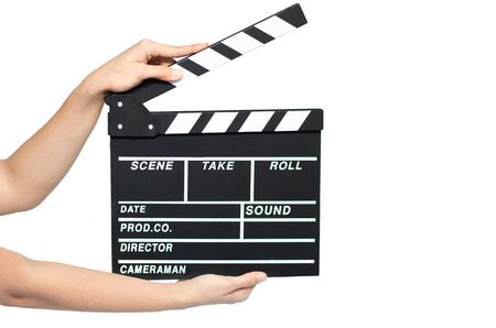 action movie: Woman hand take clipboard on white background