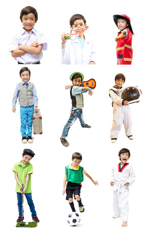Little boy pretend as many occupation for future photo